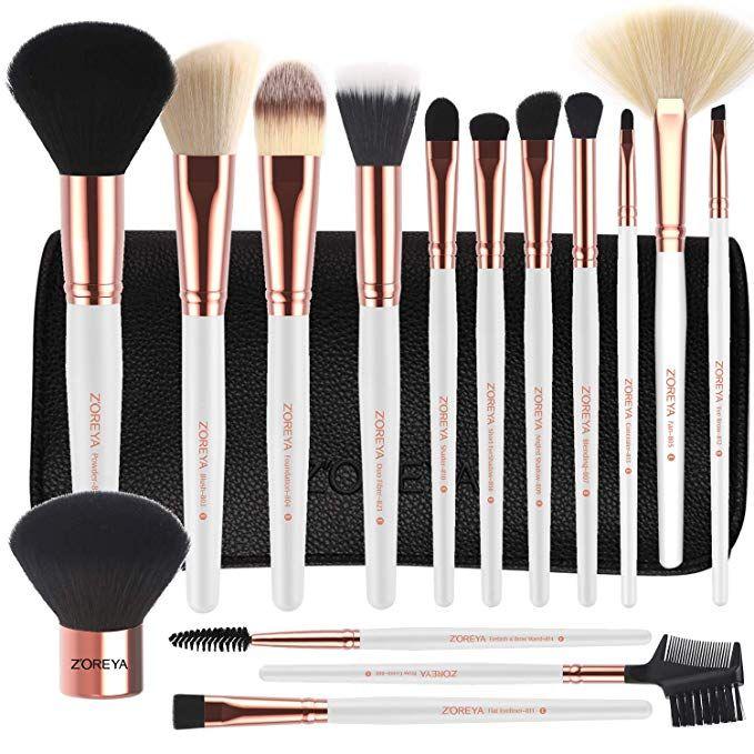 Zoreya Makeup Brushes Premium Luxury 15pc Rose Gold Make Up