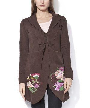 Look what I found on #zulily! Mamatayoe Chocolate & Pink Floral Babushka Coat by Mamatayoe #zulilyfinds