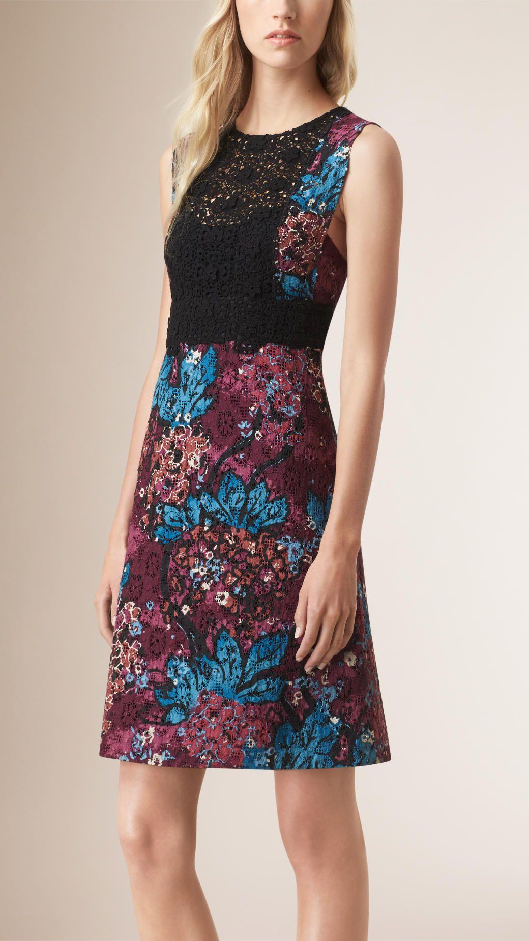 Robe droite en dentelle anglaise avec imprimé floral | Burberry