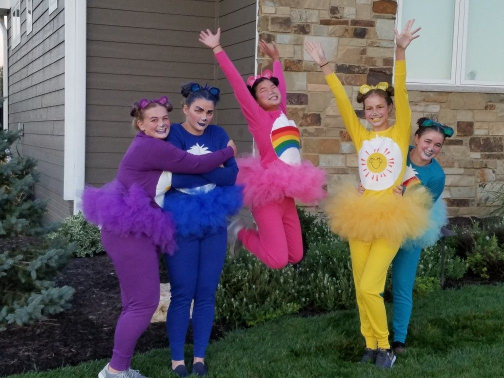 Care Bears...felt tummies, tutus, ears, and face paint. #carebearcostume Care Bears...felt tummies, tutus, ears, and face paint. #carebearcostume
