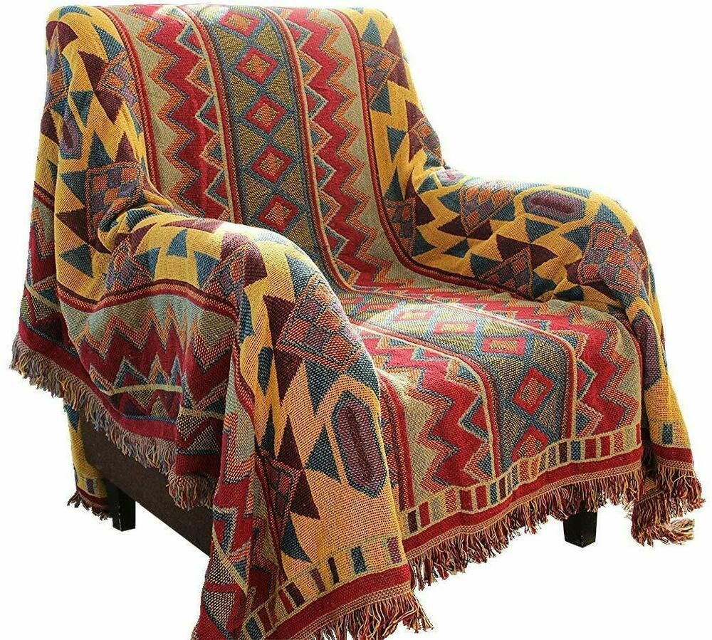 LELVA Tassels Woven Throw Blanket for Bed Couch Soft Chair