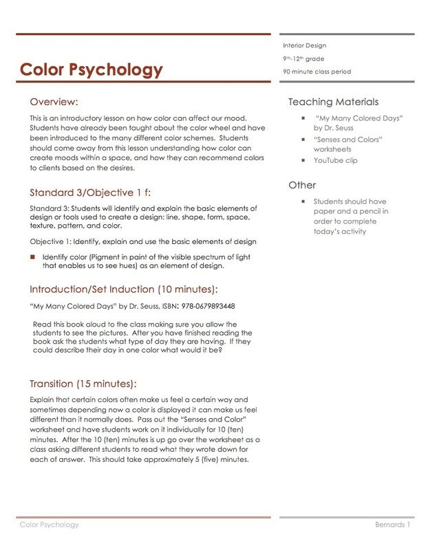 Color Psychology Lesson Plan Housing Interior Design Lesson