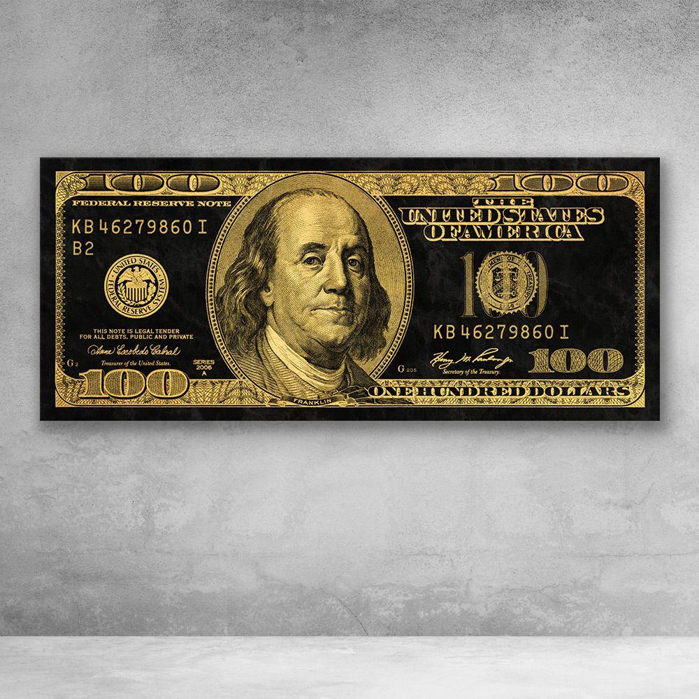 Gold Ben Franklin 100 Dollar Bill Money Canvas Wall Art Dollar Bill 100 Dollar Bill 100 Dollar