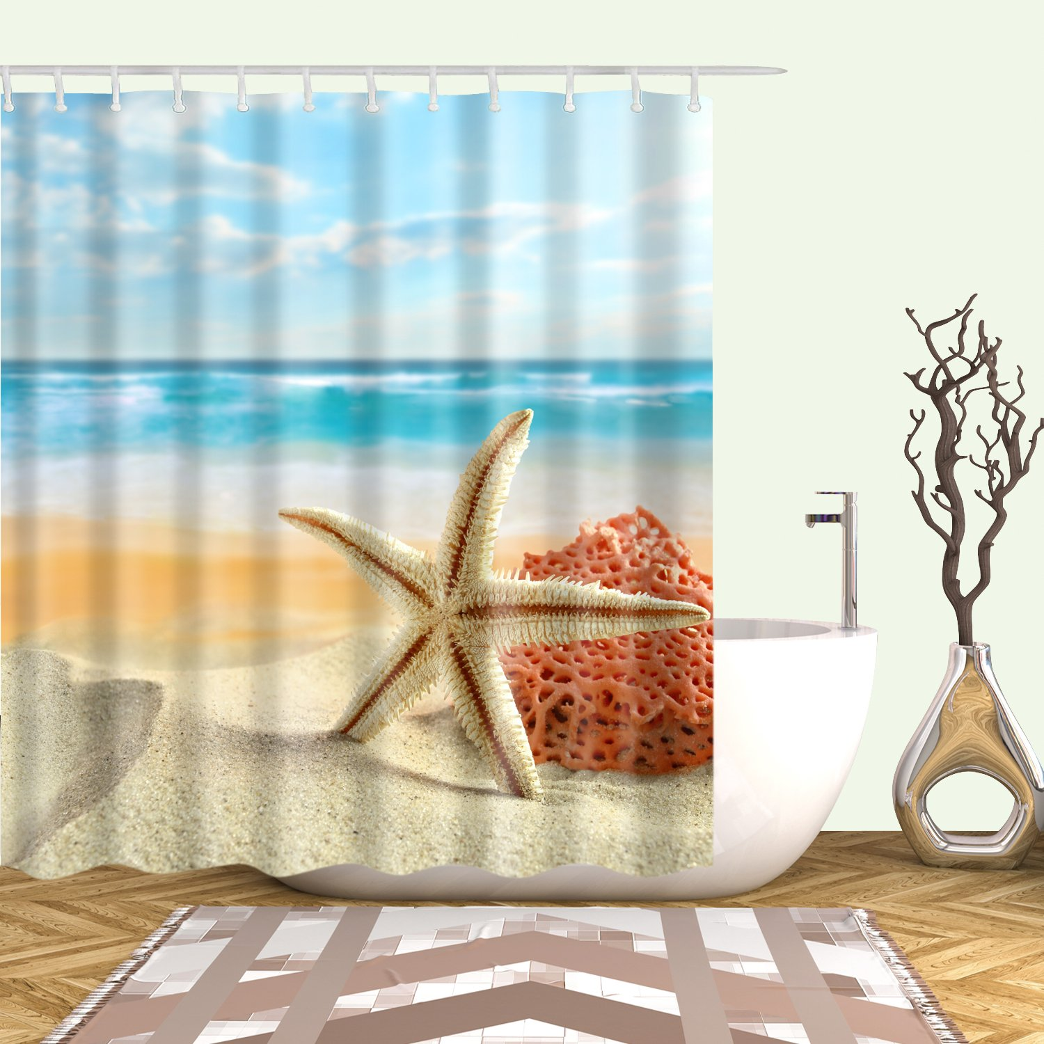 White Starfish Shower Curtain Orange Coral Seashell Beach Bathroom Curtains Bathroom Decor Beach Bathrooms Bathroom Red Bathroom Curtains