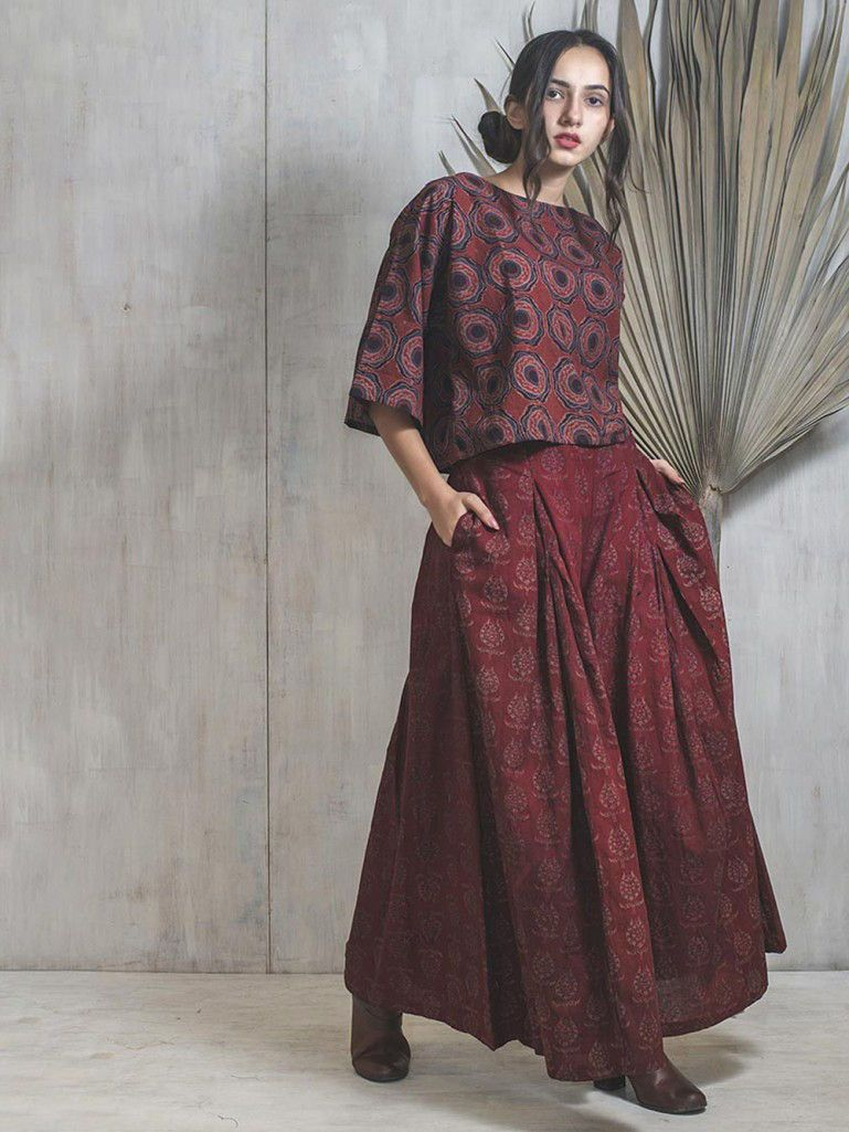 Buy Maroon Hand Block Printed Cotton Top with Palazzo Set