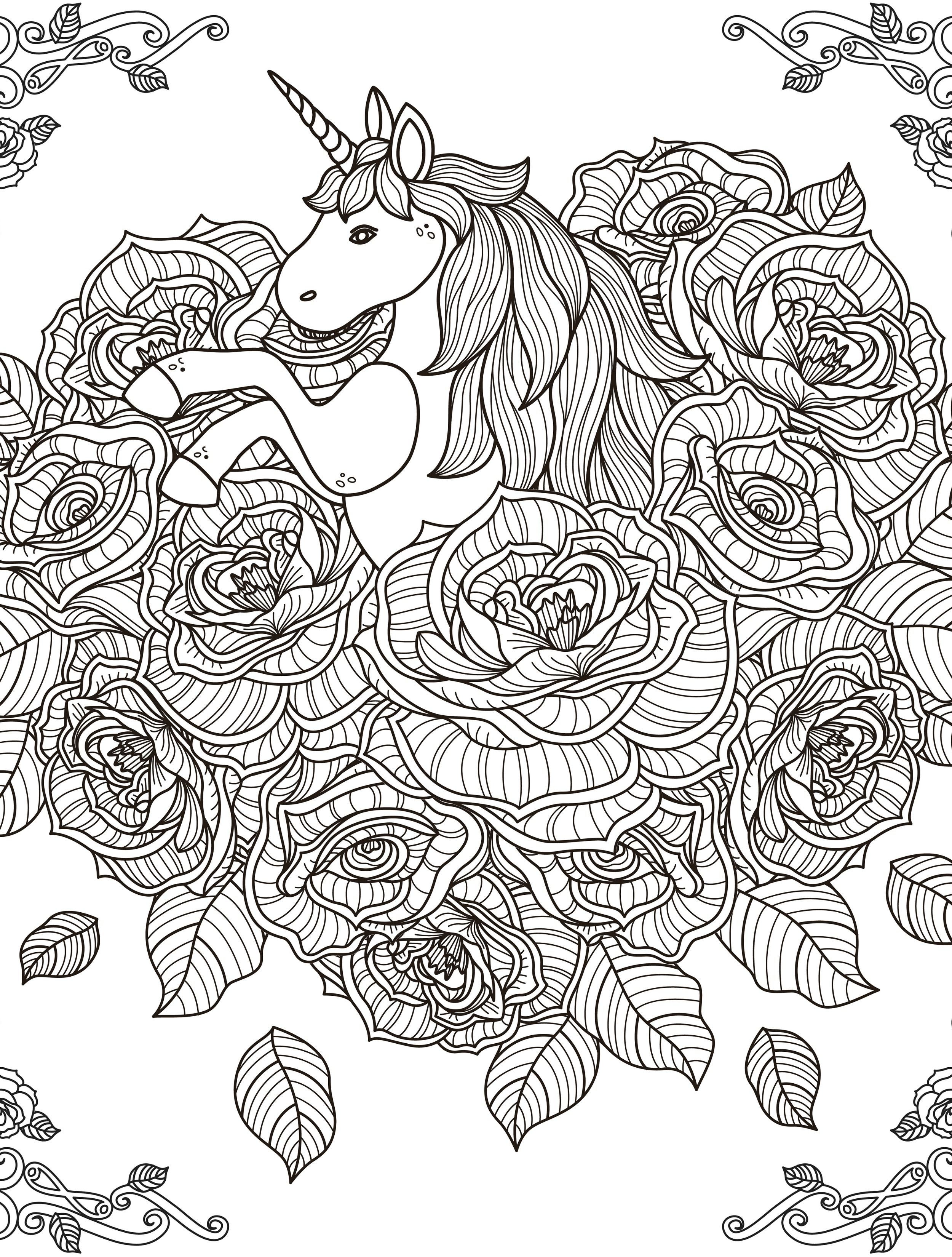 Unicorn Coloring Page For Adults Printable1 2,500×3,300 Pixels
