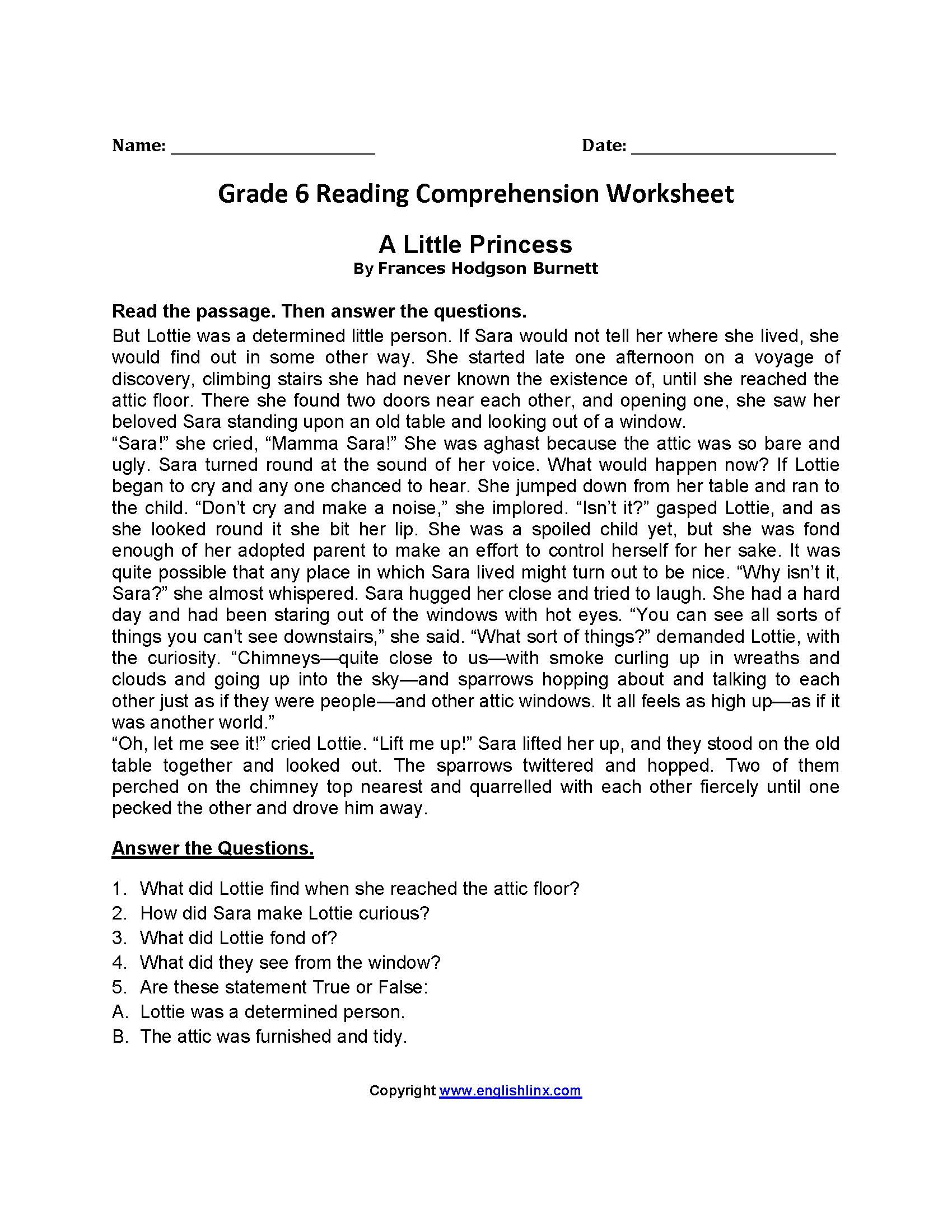 Free Printable Reading Worksheets For Grade 6 2 In