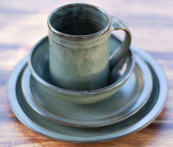 Gray Stoneware Dinnerware Set 4 piece Pottery Dinnerware Set & Gray Stoneware Dinnerware Set 4 piece Pottery Dinnerware Set ...