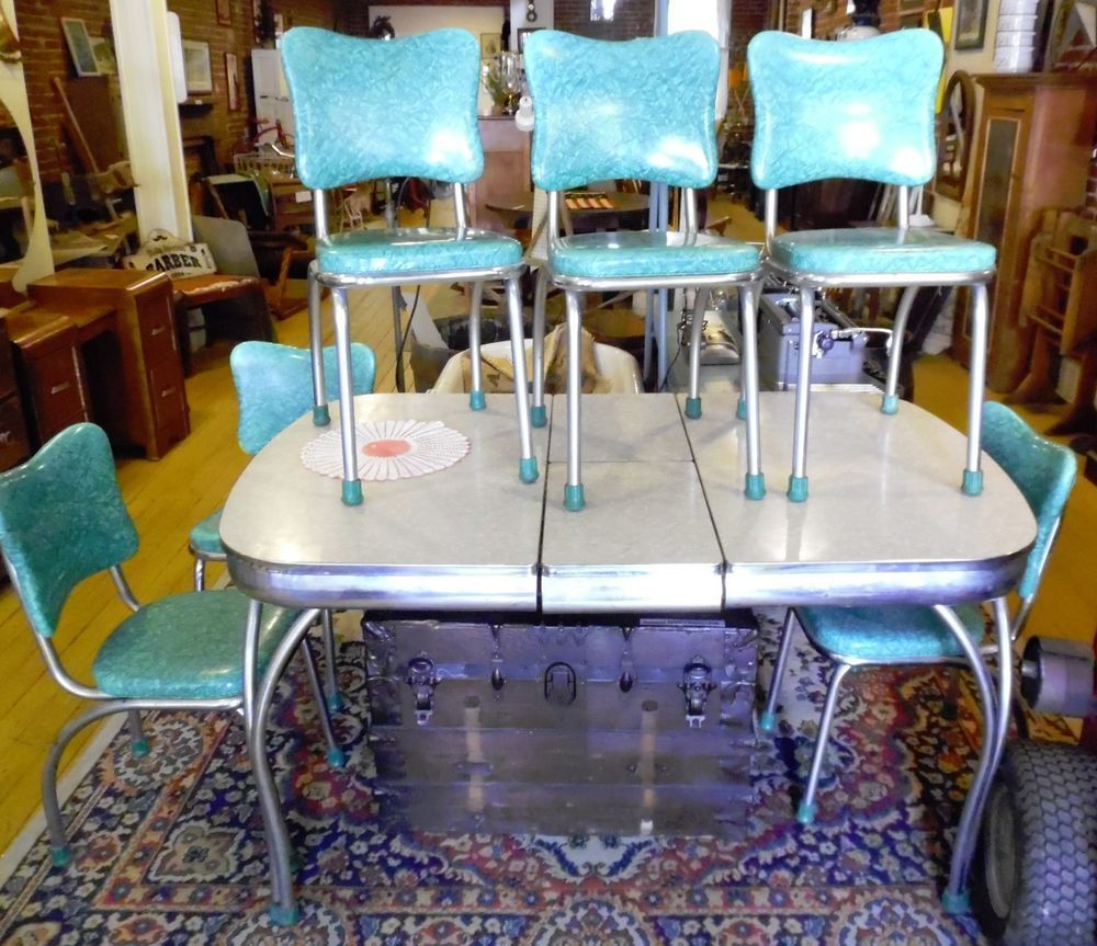 Chrome Kitchen Chairs Refinishing Oak Cabinets 50s Chromcraft Turquoise Green Chair Set 6 W Gray Table Vintage
