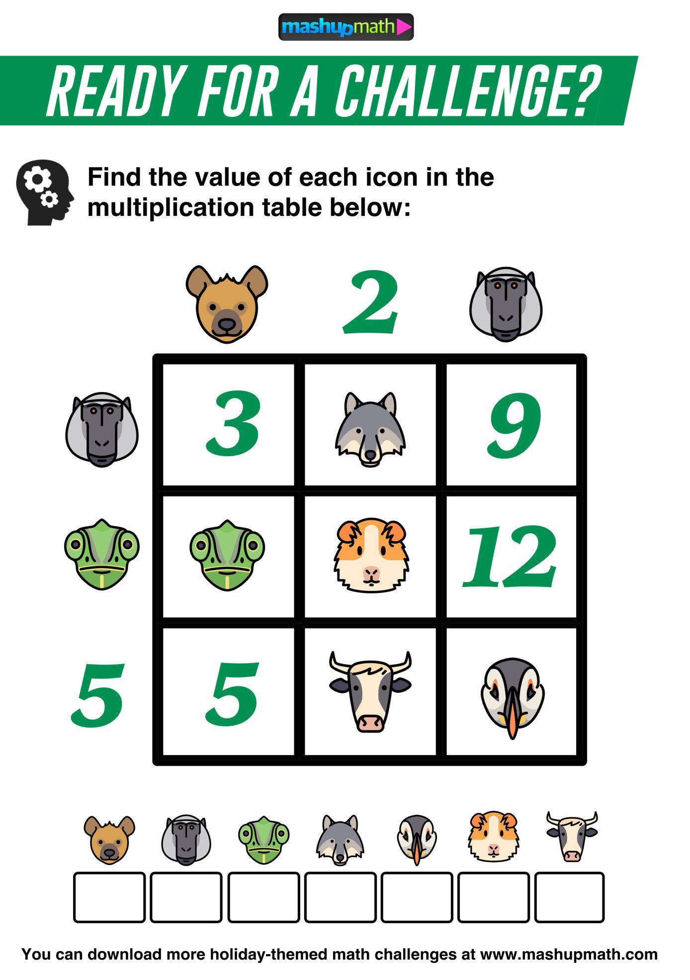 Zoo Animal Multiplication Table Math Challenge Math Talk Grade 6 Math [ 1970 x 1388 Pixel ]