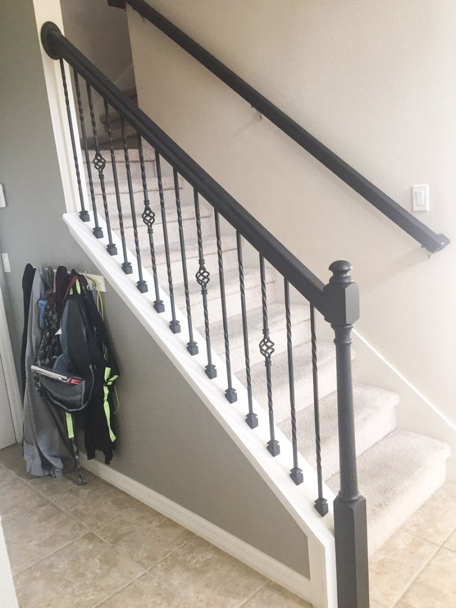 Best How To Paint A Stair Rail Staircase Remodel Iron Stair 400 x 300
