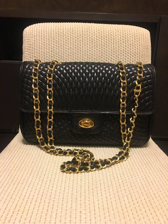 Authentic Bally Vintage Double Flap Quilted Chain Bag