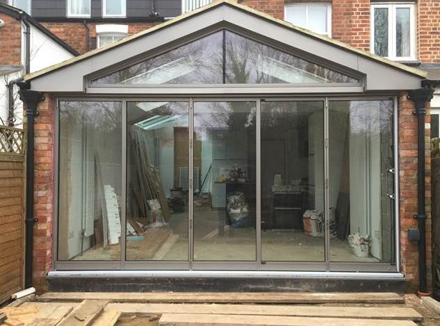 VCDesign is liking this glazed gable above delicate doors- but I would probably have made the prick piers a tad wider and the down pipes matching & Gorgeous glazed gable. Love the fine line aluminium finish. www ...
