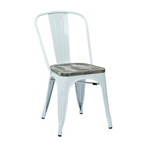 Bristow White and Ash Crazy Horse Metal Chair with Vintage Wood Seat, Set of 2