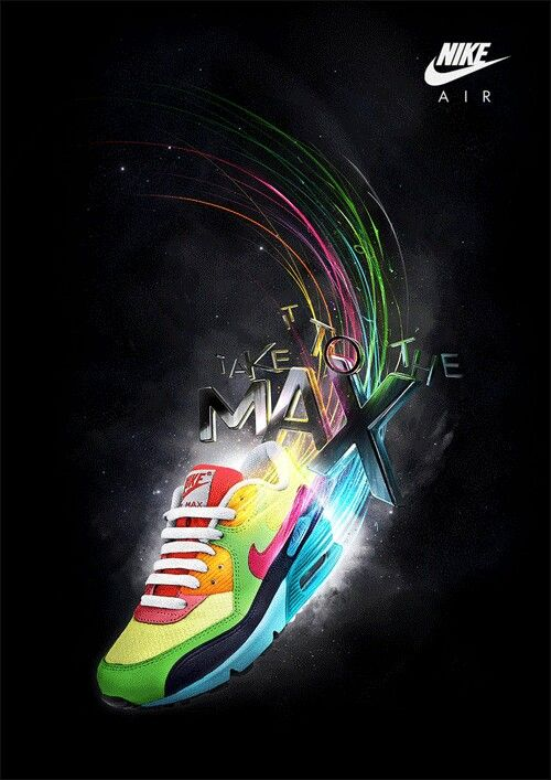 This Nike Air Max ad is cool, the lines coming from behind the trainer  representing the speed, and the placement of the letters being slightly  jumbled ...