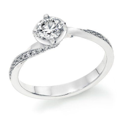 Amazon.com: Round Diamond Solitaire Engagement Ring in 14k ...