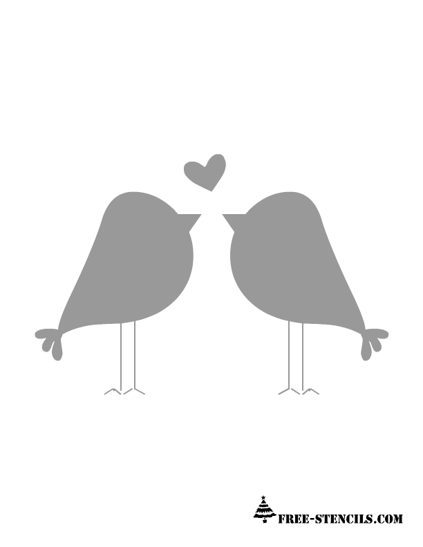 This is a very popular stencil image of two love birds standing in – Love Templates Free