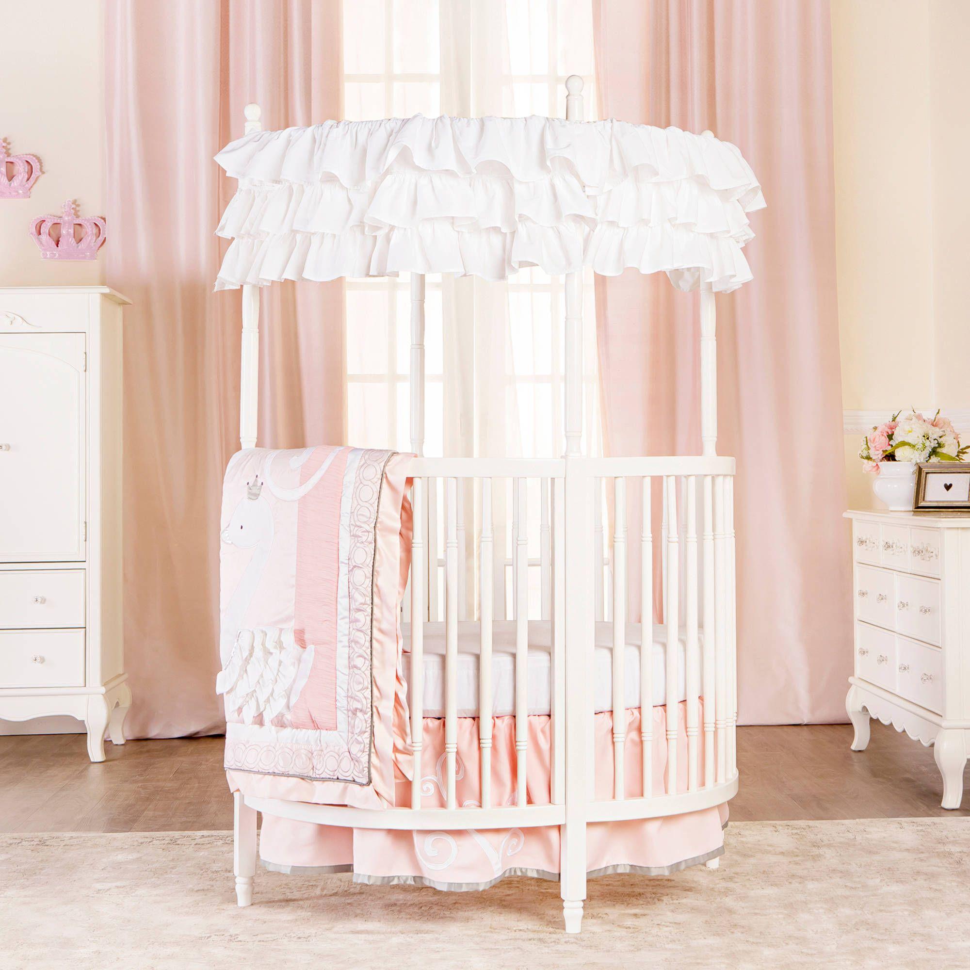 Free 2 Day Shipping Buy Dream On Me Sophia Posh Circular Mini Crib White At Walmart Com In 2020 Circular Crib Round Crib Bedding Round Cribs
