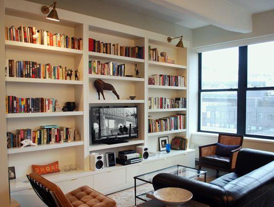Tv Walls Brooklyn Loft Floor To Ceiling Bookcase