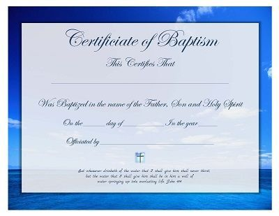 Free printable - Baptism Certificate template Forms Pinterest - sample baptism certificate template