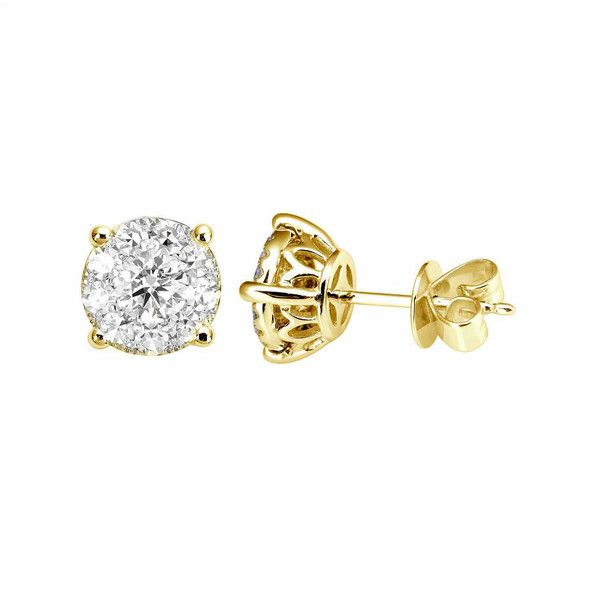 diamond earring earrings ct gold set rose bezel zeige brilliant stud round