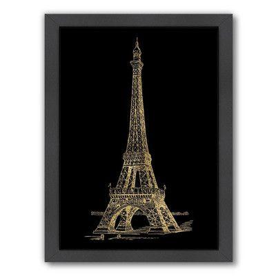 """Mercer41 Eiffel Tower Framed Graphic Art Size: 16.5"""" H x 13.5"""" W x 1.5"""" D"""