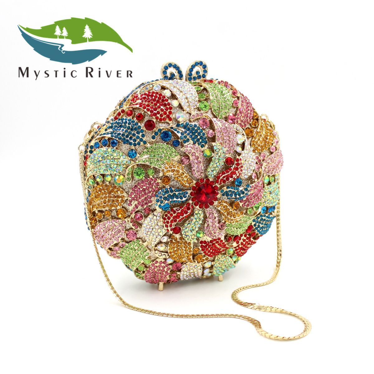 Mystic River New Women Colourful Flower Crystal Evening Handbag ...