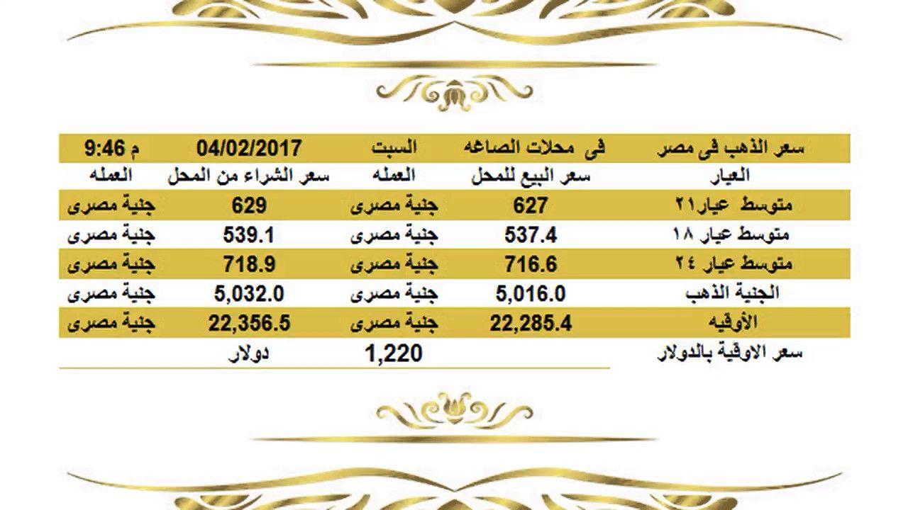 سعرالذهباليومفيمصرالسبت4 2 2017عيار21وعيار18وعيار24الساعة10مساء سعر الذهب اليوم في مصر والمعدن الأصفر يقفز قفزة مفاجأة 20 سعر الذهب ال Gold Rate Gold Meltdowns