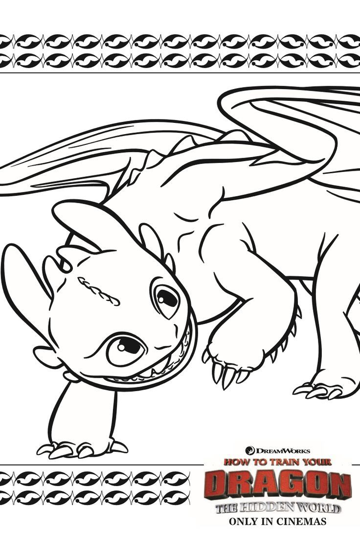 Toothless Dragon Coloring Page from How To Train Your