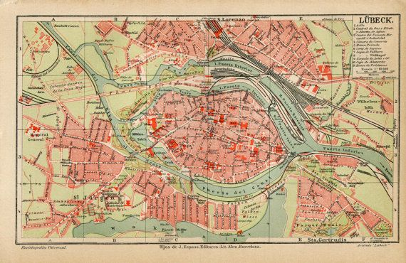 Lbeck Germany Vintage City Plan Street Map 1920s Maps of Cities