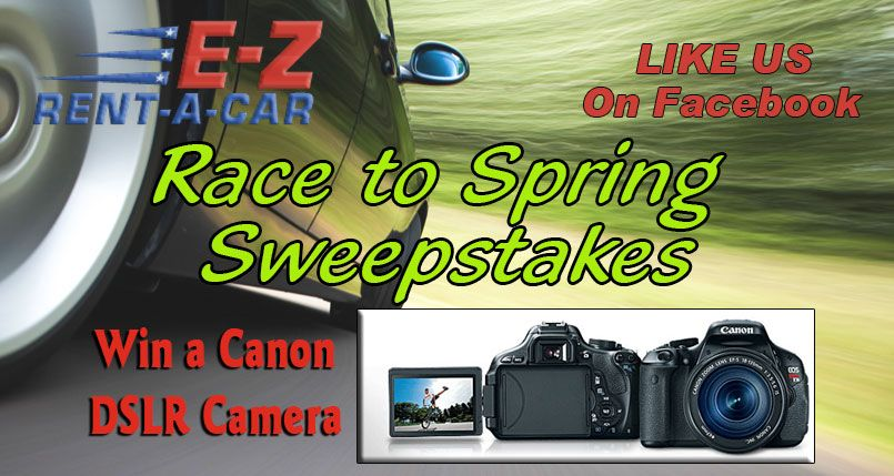 Check Out This From Race To Spring Sweepstakes From E Z Rent A Car Enter To Win A Acannon Dslr Camera Sweepstakes Contest Giveaway Contest