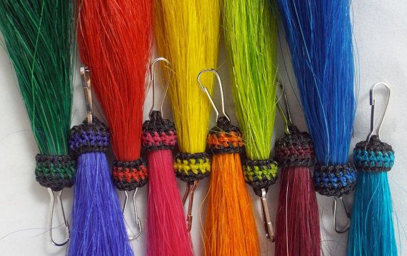 Horsehair tassels with clip hand-dyed  Colorful  by Knotatail