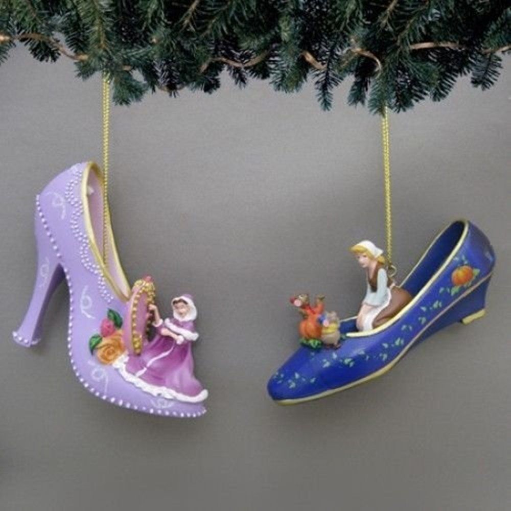 Disney Once Upon a Slipper Ornament Set #6 Snow White and Cinderella ...