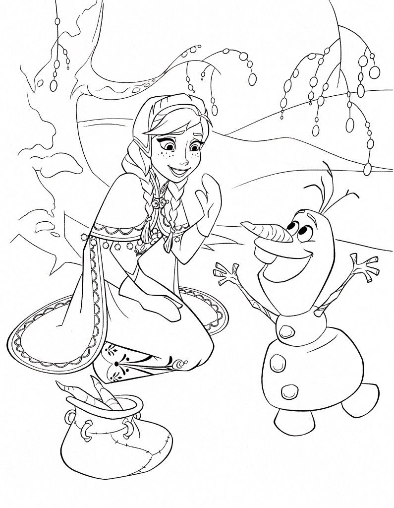 Frozen Coloring Page Anna Olaf | Coloring | Pinterest | Olaf, Frozen ...