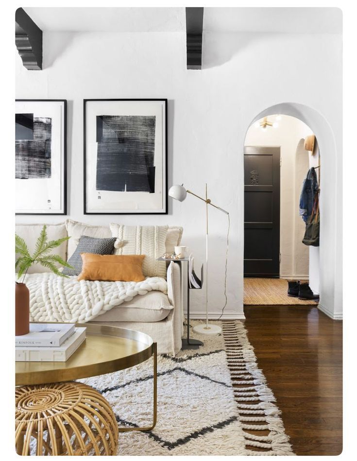 Boho Library Wall Living Room: Arched Doorway