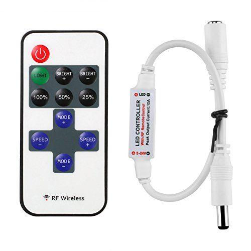 3 06 Le Mini Remote Controller For Single Color Led Strip Lights Rf Dimmer For 12 V Dc Led Light Strips Led Strip Lighting Led Dimmer Rgb Led Strip Lights