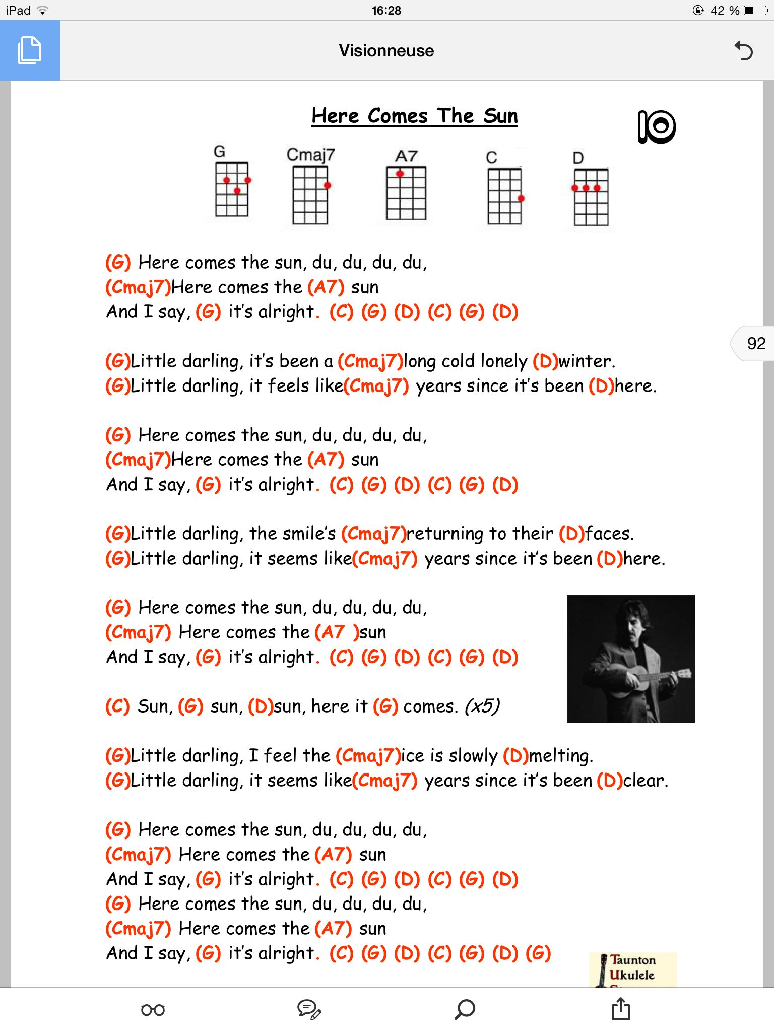 Here comes the sun pinteres here comes the sun beatles lyrics ukulele chord chart hexwebz Images