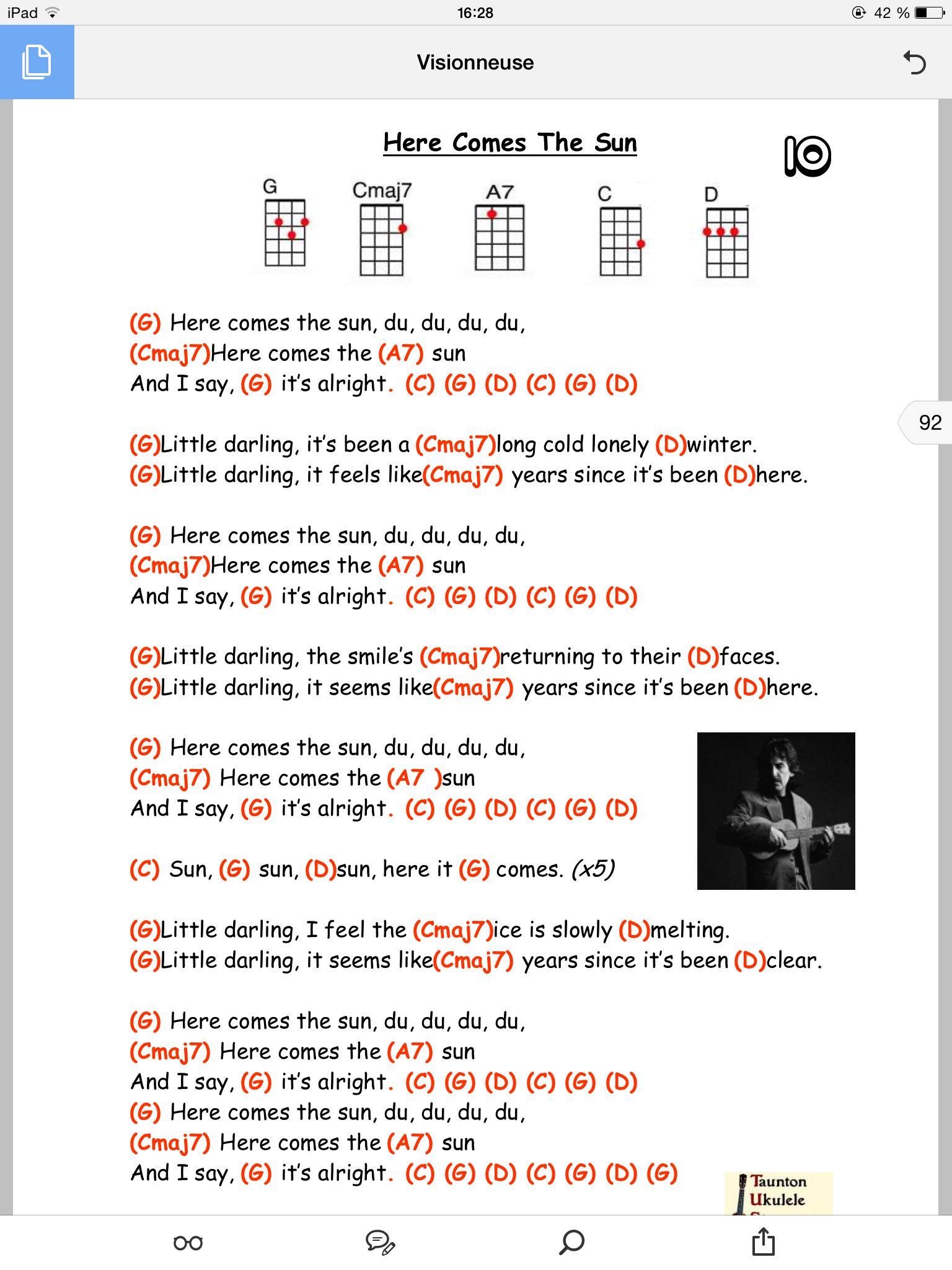 Here comes the sun pinteres here comes the sun beatles lyrics ukulele chord chart hexwebz Choice Image
