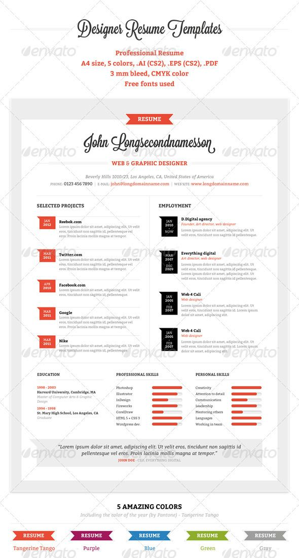 17+ images about Resume templates on Pinterest | Adobe photoshop ...