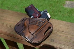 Pancake holster : Gun model is a Kimber Ultra Carry with crimson