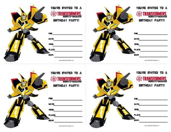 Transformers Birthday Invitations Party time Pinterest
