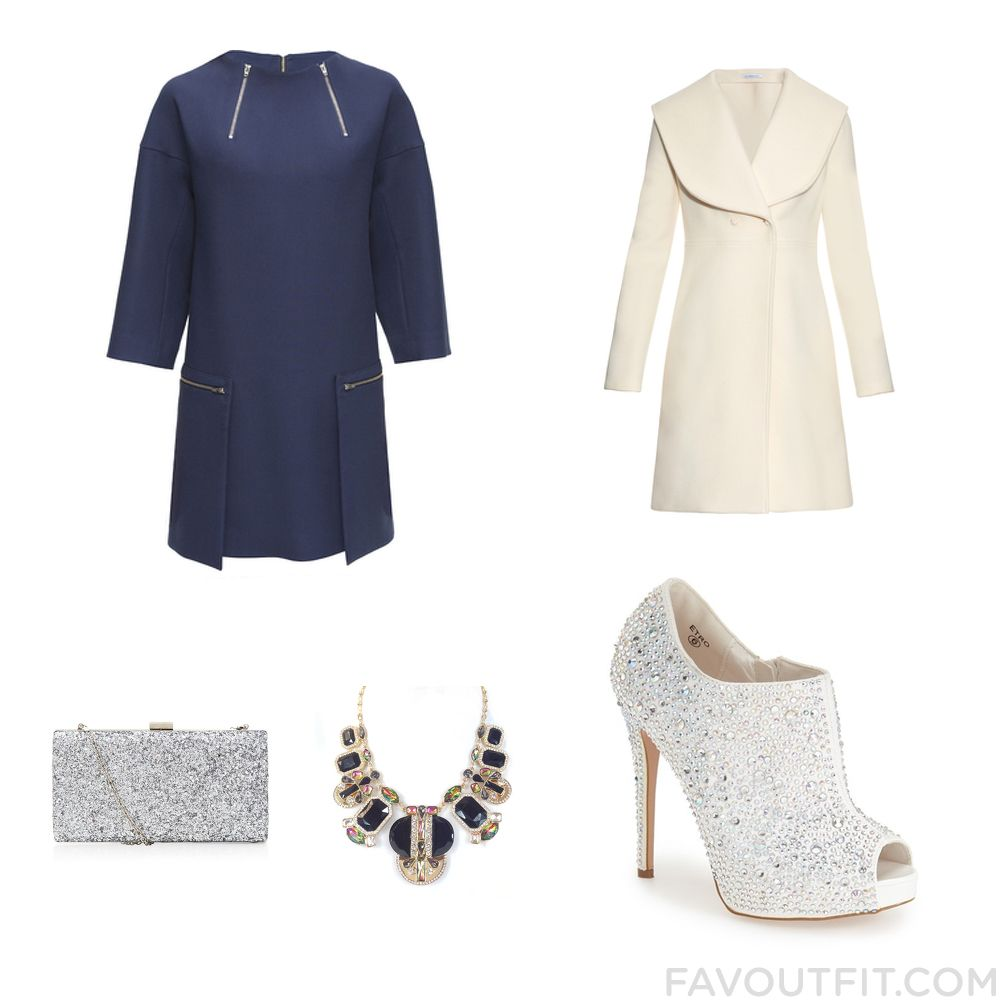 Fashion Guide With Lattori Dress Long Coat Lauren Lorraine Ankle Booties And Silver Handbag From December 2015 #outfit #look