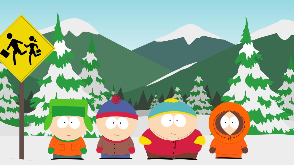 South Park Boys at Bus Stop