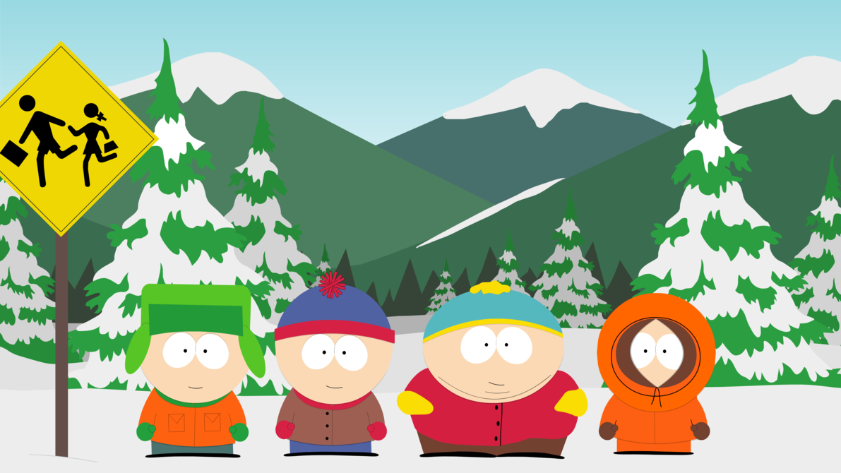 South Park Boys at Bus Stop Background hd wallpaper