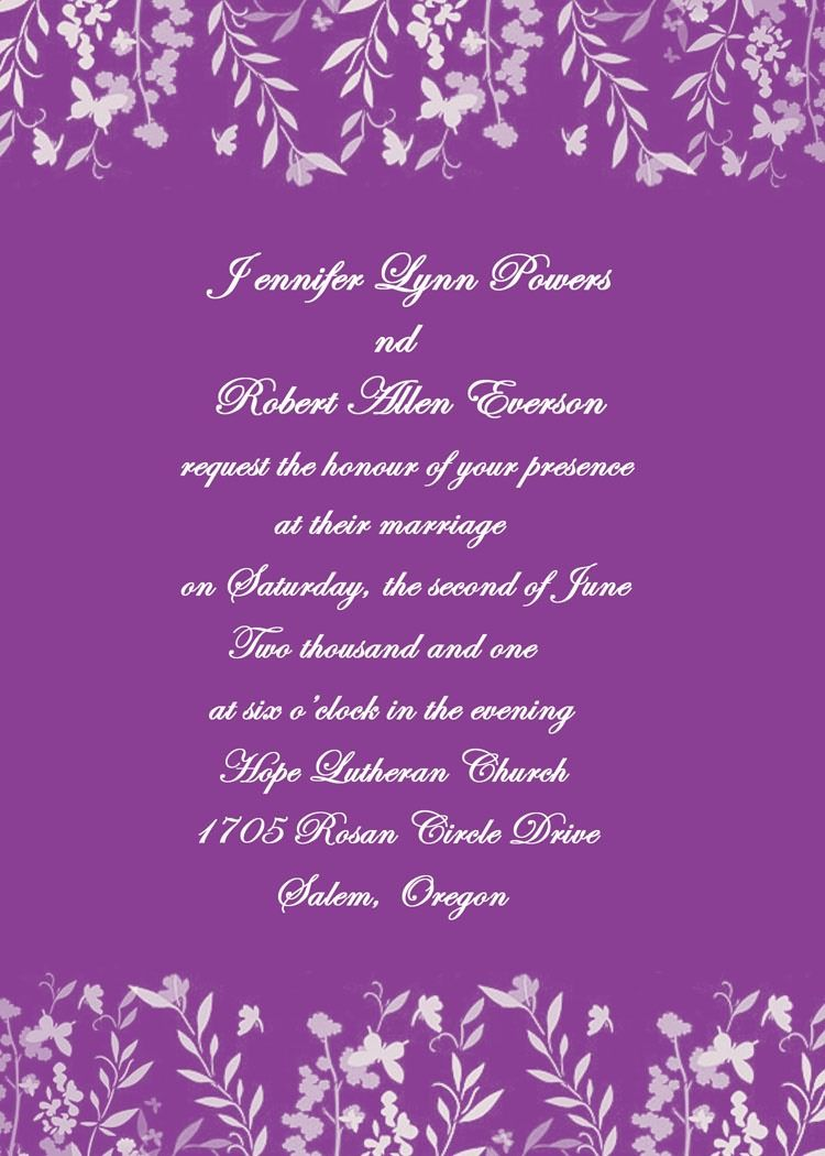 Romantic purple leaves and butterfly wedding invites EWI180 | Butterfly wedding  invitations, Wedding invitations, Beach wedding invitations