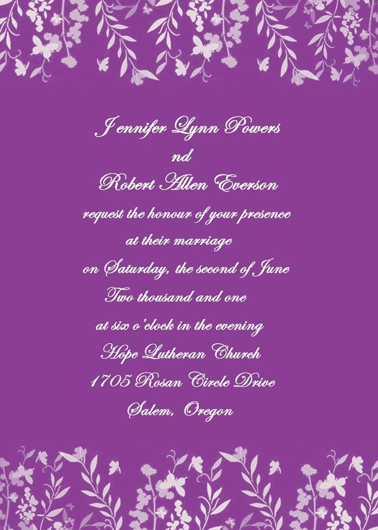 romantic purple leaves and butterfly wedding invites ewi180, Wedding invitations