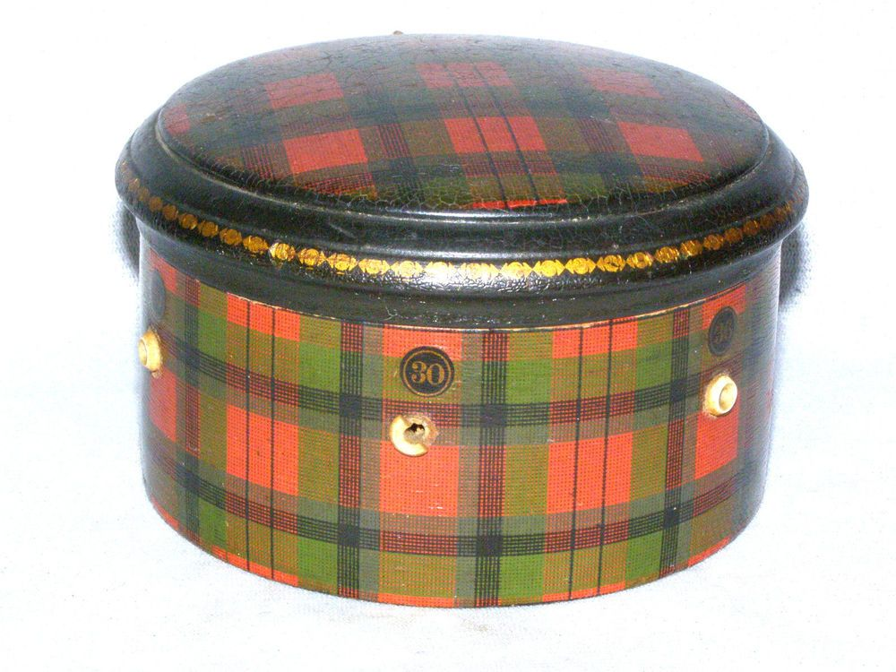 Antique Round Wood Tartan Ware Spool Thread Box - Clarks O.N.T. - M'Duff Tartan