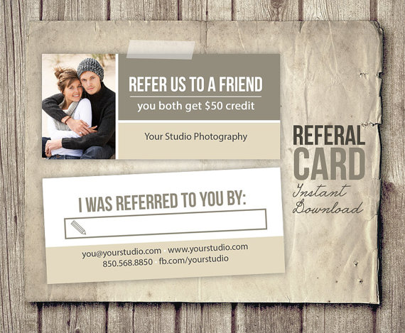 Photography Referral Card Template Rep Card By Studiotwentynine