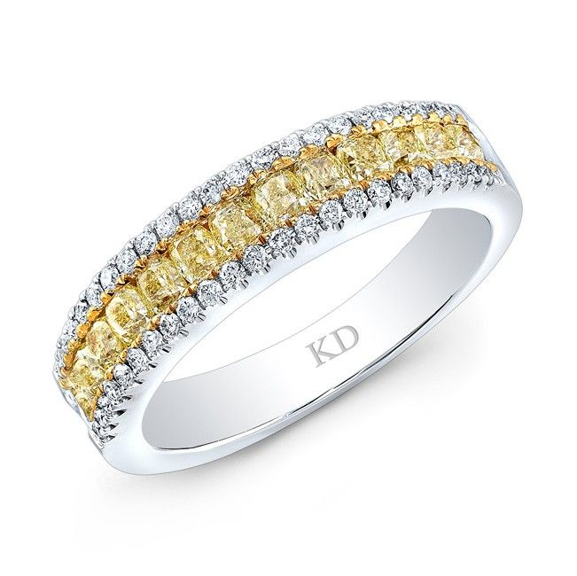 18k White And Yellow Gold Cushion Fancy Yellow Channe With Images Fancy Yellow Diamond Engagement Rings Yellow Diamonds Engagement Yellow Diamond Engagement Ring