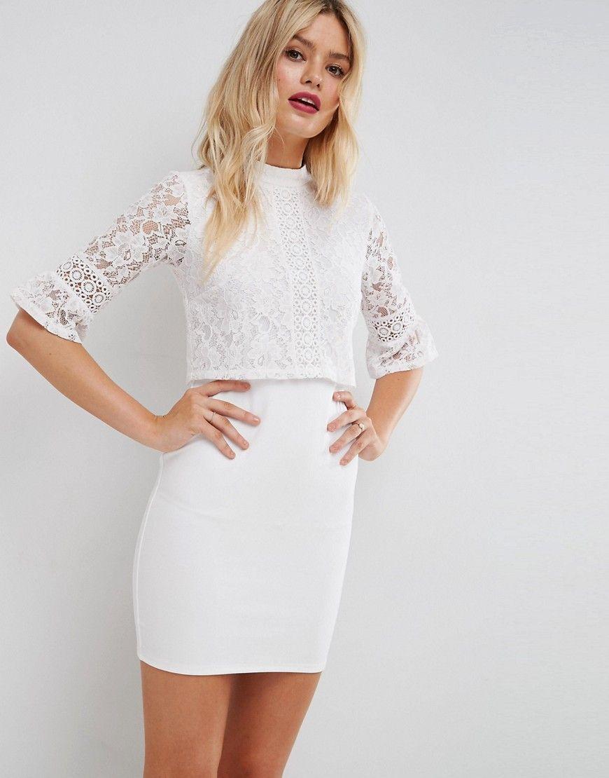 1ec31f37f ASOS Lace Crop Top Mini Dress With Trim - White   Leg Styles ...